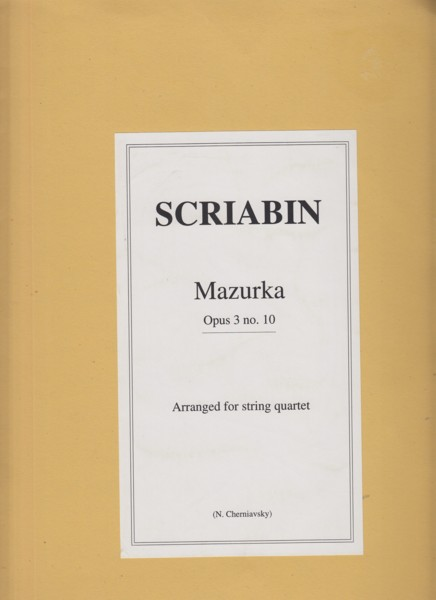 Image for Mazurka Op.3 No.10  arranged for String Quartet