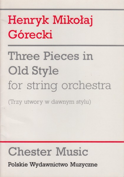 Three Pieces in Old Style for String Orchestra - Study Score