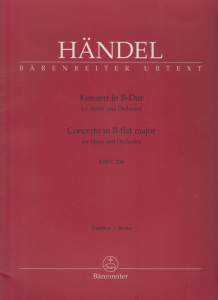 Image for Concerto in B flat for Harp and Orchestra, HWV 294 - Full Score