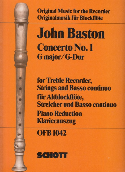 Image for Concerto No.1 in G for Treble Recorder, Strings and Basso Continuo - Piano Reduction
