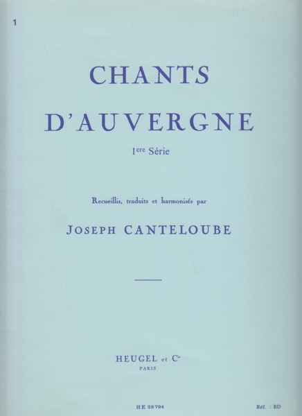 Image for Chants d'Auvergne 1st Series - Voice & Piano