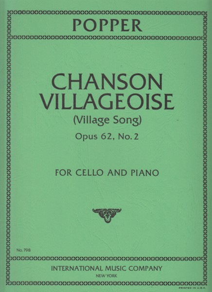 Image for Chanson Villageoise, Op.62/2 - Cello & Piano