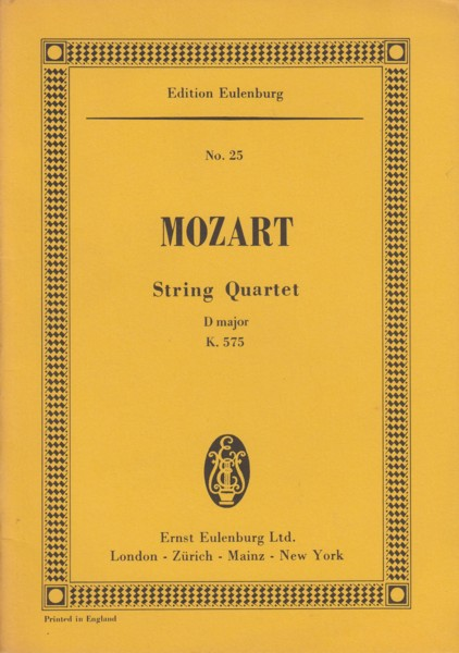 Image for String Quartet in D major, K.575 - Study Score