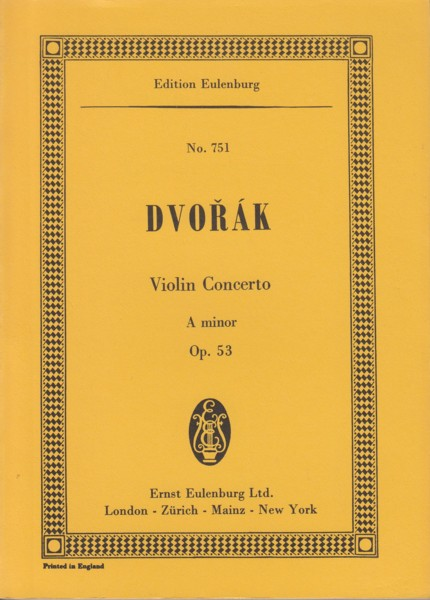 Image for Violin Concerto in A minor, Op.53 - Study Score