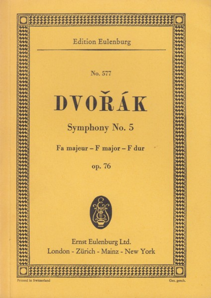 Image for Symphony No.5 in F major, Op.76 - Study Score
