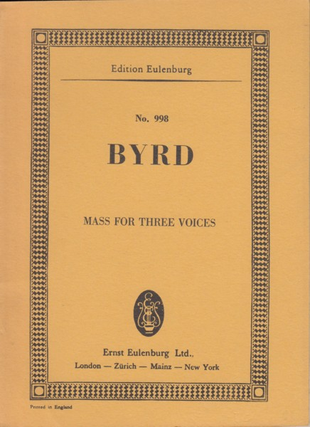 Image for Mass for Three Voices - Study Score