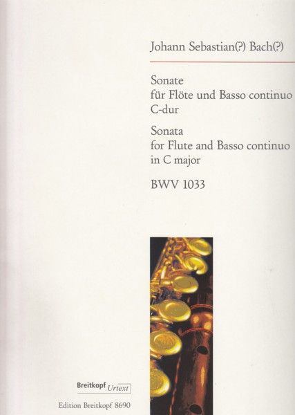Image for Sonata for Flute and Basso continuo in C major, BWV 1033 - Set of Parts