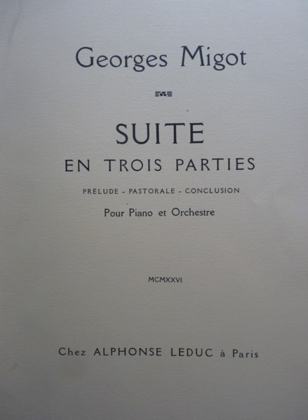 Image for Suite en Trois Parties for Piano and Orchestra - Folio Full Score