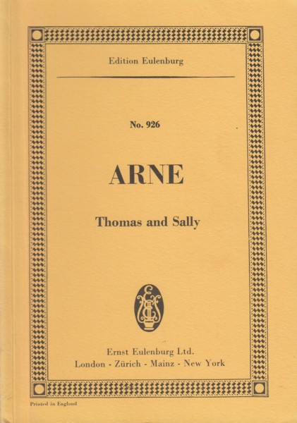 Thomas and Sally, Dramatic Pastoral in Two Acts - Study Score