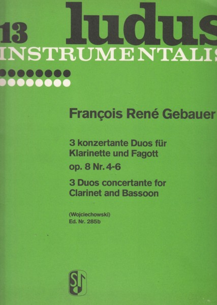 Image for 3 Duos Concertante for Clarinet in C and Bassoon, Op.8 Nos.4 - 6