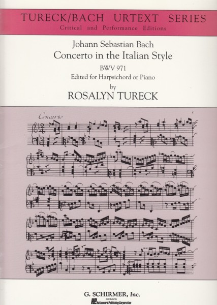 Image for Concerto in the Italian Style, BWV 971 - Tureck/Bach Urtext Series