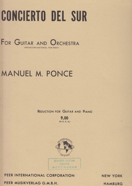 Image for Concierto Del Sur for Guitar and Orchestra - Guitar & Piano
