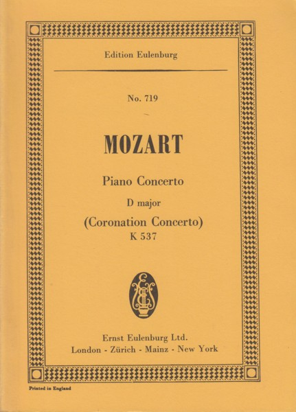"Image for Piano Concerto No.26 in D major, K537 ""Coronation"" - Study Score"