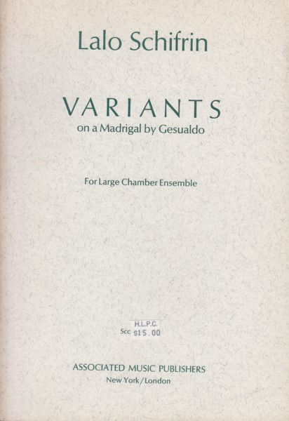 Image for Variants on a Madrigal by Gesualdo - Study Score