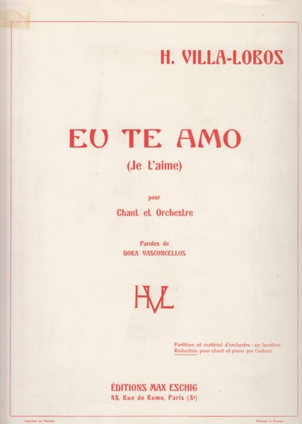 Image for Eu Te Amo for Voice and Orchestra - Voice & Piano