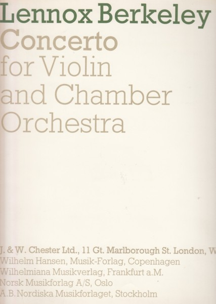 Image for Concerto for Violin and Chamber Orchestra - Violin & Piano