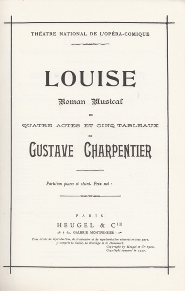 Image for Louise, Roman Musical in Four Acts and Five Tableaux