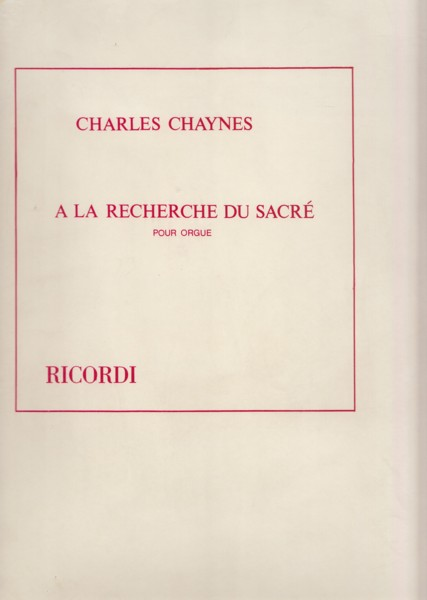 Image for A La Recherche du Sacré for Organ