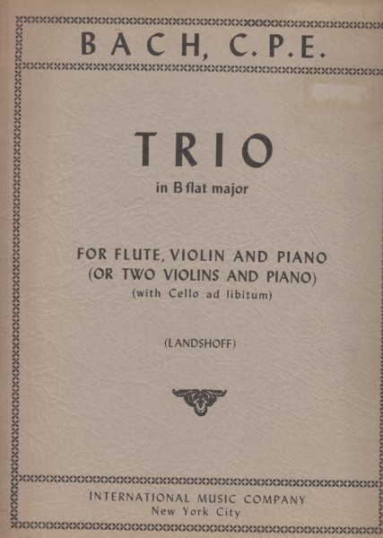 Image for Trio in B flat major for Flute, Violin and Piano - Set of Parts