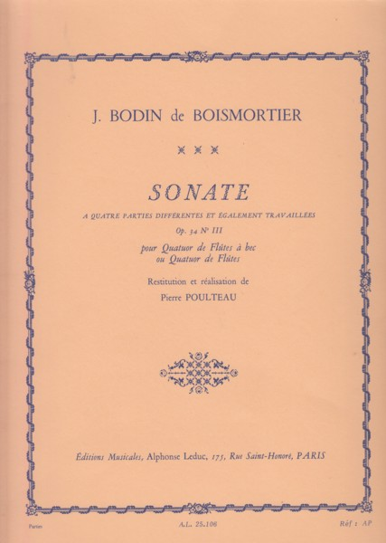 Image for Sonata Op.34 No.III for Recorder or Flute Quartet