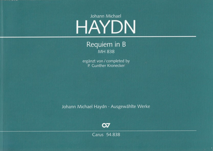 Image for Requiem in B flat, MH 838 - Full Score
