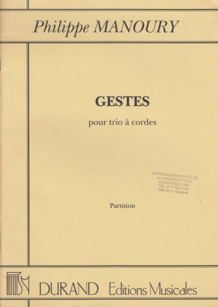 Image for Gestes (1993)  for String Trio - Full Score