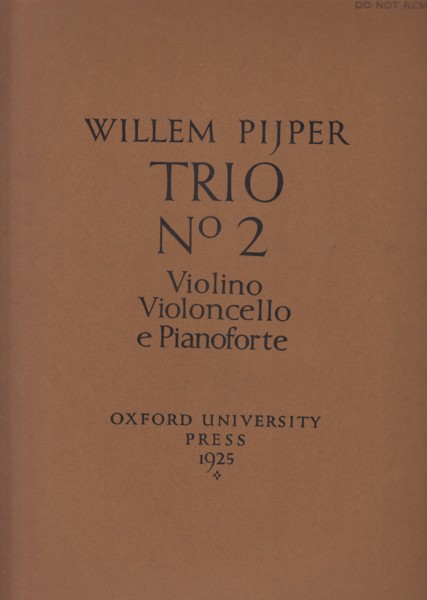 Image for Trio No.2 for Violin, Cello and Piano - Set of Parts