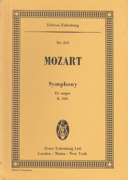 Image for Symphony No.39 in E flat Major, K.543 - Study Score