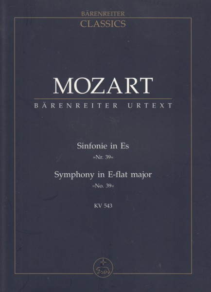 Image for Symphony No.39 in E flat major, KV 543 - Study Score