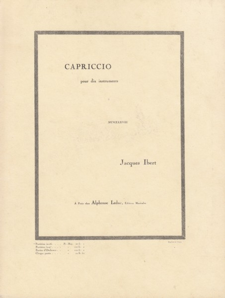 Image for Capriccio for Ten Instruments - Study Score