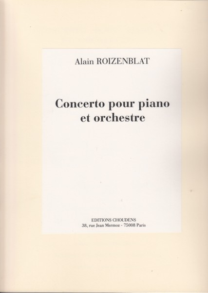 Image for Concerto for Piano and Orchestra - Full Score