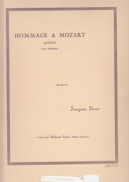 Image for Hommage a Mozart, Rondo for Orchestra - Full Score