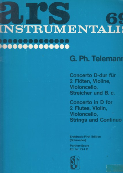 Image for Concerto in D for 2 Flutes, Violin, Cello, Strings and Continuo - Full Score