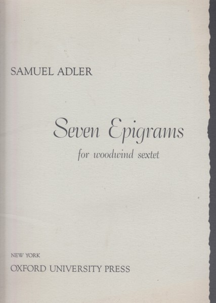 Image for Seven Epigrams for Woodwind Sextet - Full Score & Set of Parts