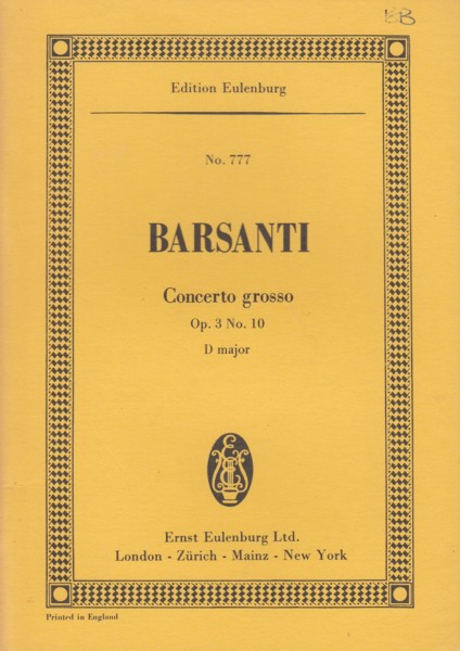 Image for Concerto Grosso in D Major, Op.3 No.10 - Study Score