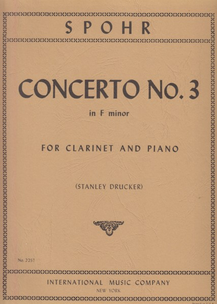 Image for Clarinet Concerto No.3 in f minor - Clarinet & Piano