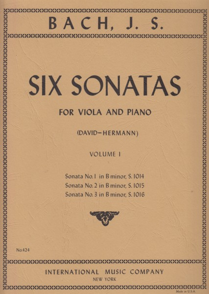 Image for Six Sonatas for Viola and Piano Volume I