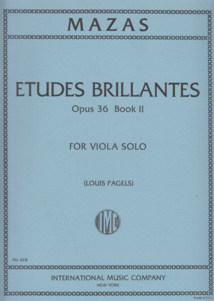 Image for Etudes Brillantes, Op.36 Book II for Viola Solo