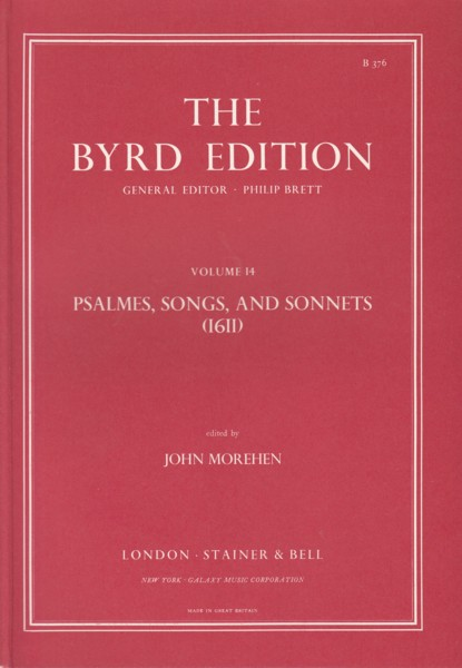 Image for Psalmes, Songs and Sonnets (1611) - The Byrd Edition Volume 14
