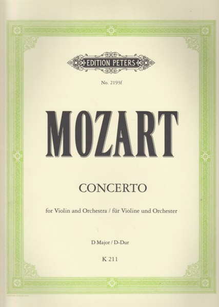 Image for Violin Concerto in D major, K 211 - Violin & Piano