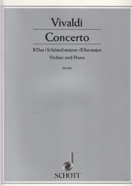 Image for Concerto for Violin, String Orchestra and Organ in B flat, RV 379 - Violin & Piano