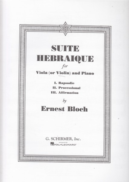 Image for Suite Hebraique for Viola (or Violin) & Piano