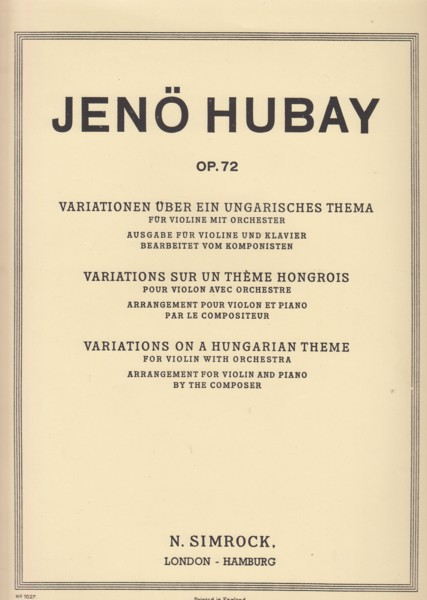 Image for Variations on a Hungarian Theme for Violin with Orchestra, Op.72 - Violin & Piano