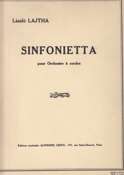 Image for Sinfonietta for String Orchestra, Op.43 - Full Score