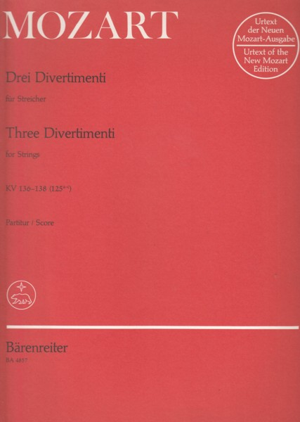 Image for Three Divertimenti for Strings KV 136 - 138 ~ Full Score