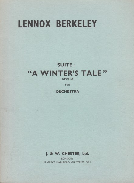 """A Winter's Tale"", Suite for Orchestra, Op.54 - Study Score"