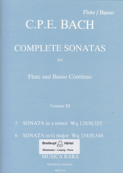 Image for Complete Sonatas for Flute & Basso Continuo Volume III