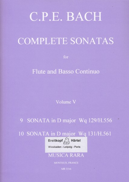 Image for Complete Sonatas for Flute & Basso Continuo Volume V