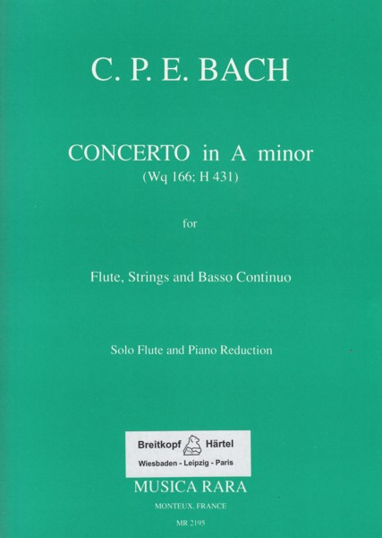 Image for Concerto for Flute, Strings and Basso Continuo in a minor, Wq 166 - Flute & Piano