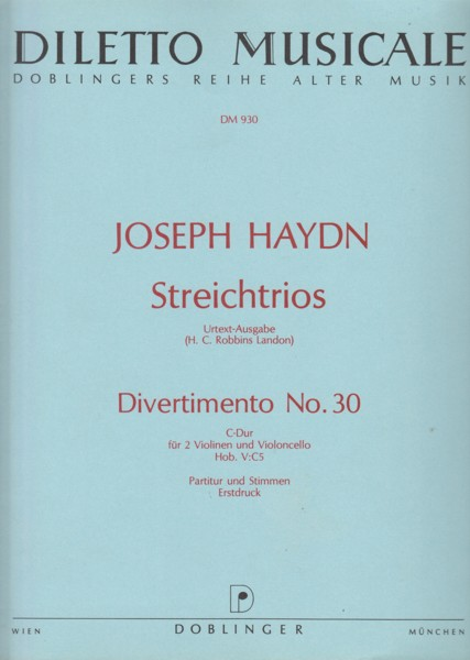Image for Divertimento No.30 in C major, Hob.V:C5 for 2 Violins and Cello - Score & Parts